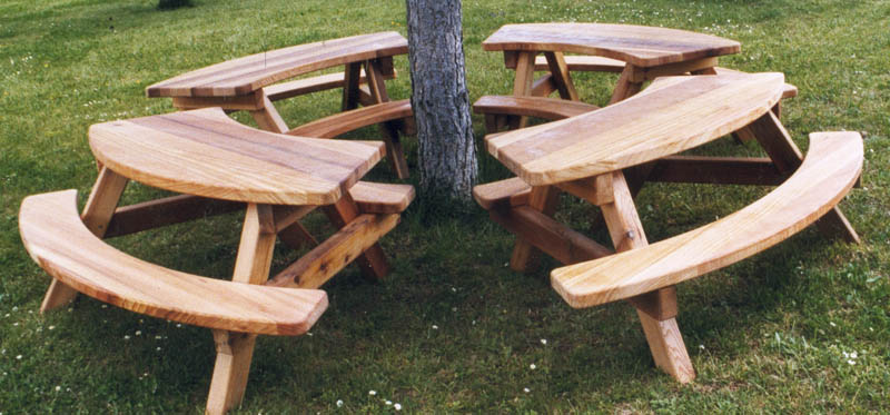 mobilier urbain bois massif banc table de pique-nique,poubelle
